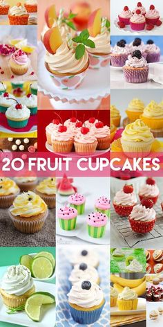 I may be a certified chocoholic, but I do recognize the existence of fruit lovers so this one is for you! Don't worry, I wouldn't dare pass up a delicious peach mojito cupcake or a coconut cupcake – yum! In fact, these 20 cupcakes for fruit lovers are ov Mojito Cupcakes, Fruit Cupcakes, Coconut Cupcakes, Baking Cupcakes, Cupcake Cookies, Vanilla Cupcakes, Lime Cupcakes, Cheesecake Cupcakes, Mocha Cupcakes