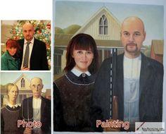 Custom oil portrait-American Gothic