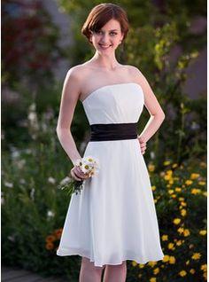 Empire Strapless Knee-Length Chiffon Bridesmaid Dress With Sash (002025639) - JJsHouse