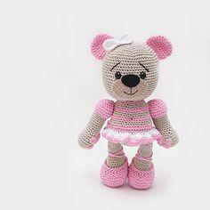 ZuzanaHdesigns / b a l e t k a Nursery Art, Pink Grey, Teddy Bear, Toys, Crochet, Handmade, Animals, Patterns, Amigurumi