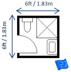 Small bathroom dimensions with a shower - 6ft x 6ft.