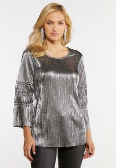 Cato Fashions Plus Size Silver Smocked Sleeve Top Cato Fashion Plus Size, Silver Shirt, Metallic Jacket, Trendy Dresses, Tunic Tops, Silver Style, Stylish, Womens Fashion, How To Wear