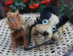 Wonderful antique Bully and Frenchie Velvet Dogs