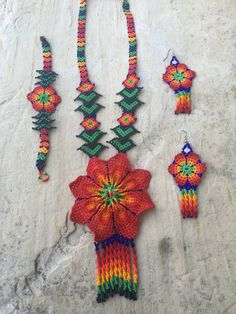 Authentic huichol beaded necklace set peyote by ArtesaniasBatyah