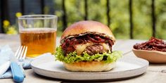 This luxe burger gets its umami-packed richness from dry-aged steak. Yep, you read that right, we grind beautiful steaks to make a burger. One bite of the juicy patty, steak… Tostadas, Tacos, Burger Recipes, Beef Recipes, Cooking Recipes, Recipies, Sauce Recipes, Vegan Recipes, Enchiladas