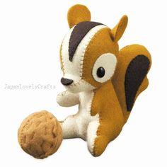 Stuffed Animal Squirrel Japanese Felt DIY by JapanLovelyCrafts