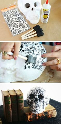 Decoupage a patterned paper onto a styrofoam skull for some easy DIY Halloween decor that will make your spooky space stand out! #DIYHomeDecorHalloween