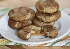 Caramel filled snickerdoodles: I made these today. Instead of shortening, I used butter, but it was a bit gooey, so I added a bit more flour. What I did notice was that if I made a small ball, the cookie would be too flat and the caramel would just be a big lump. The bigger the cookie, the better. They tasted yummy and were nice to package as a gift.
