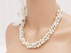 White Cluster Pearl Necklace with Flower by CameronsJewelryBox