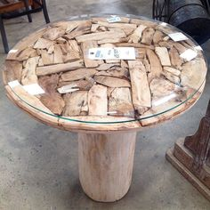 """24"""" Wood Table with a Beveled Glass Top. #SoutheasternSalvage #HomeEmporium #homedecor"""
