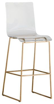 Modern White Faux Leather Bar Stool By Baxton Studio Bar