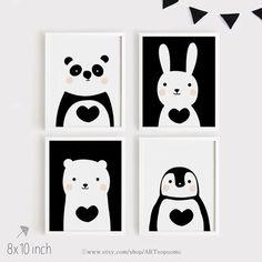 Imprimibles infantiles arte Set de 4 animales lindo art