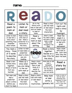 "reading log, cute idea, have students do twice a year (once a semester) parents sign off once they are done with that box, when they get their first ""bingo"" pick a prize, when they get a ""blackout"" do something else special."
