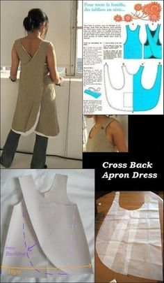 how to fit this apron pattern to fit larger hips Supernatural Style how to fit this apron pattern to fit larger hips. I have one of these aprons that was made by someone else. Cross back apron dress pattern roughly translated to Engli Resultado de imagen Diy Clothing, Clothing Patterns, Dress Patterns, Sewing Patterns, Apron Patterns, Easy Apron Pattern, Sewing Aprons, Sewing Clothes, Fabric Sewing