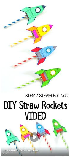 STEM / STEAM for Kids: Straw Rocket Science Activity for Kids with free printable rocket template! ~ BuggyandBuddy.com