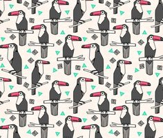 Tropical Toucan - Charcoal/Light Jade/French Rose by Andrea Lauren