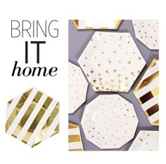 """Bring It Home: Gold Stripe Large Paper Plates"" by polyvore-editorial ❤ liked on Polyvore featuring interior, interiors, interior design, home, home decor, interior decorating and bringithome"