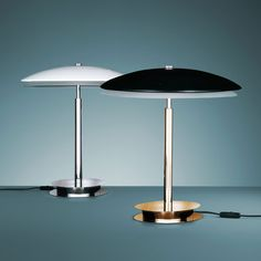 Bis/Tris (lighting): table lamp. Available with polished brass frame and black opal glass bowl, 6 mm thick, sandblasted on the inside or with chrome-plated brass frame and glass bowl, 6 mm thick, sandblasted and painted white on the inside. Lower diffuser in white frosted glass. (designer: historical archive | year: 1950) - More @ www.fontanaarte.com #fontanaarte #light #lamp