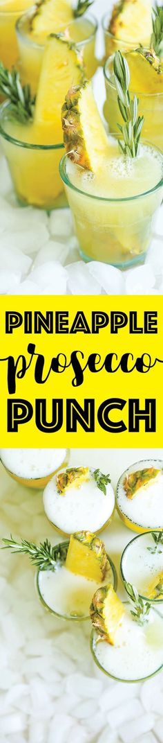 Pineapple Prosecco Punch - made this, yummy! (DH) All you need is 5 ingredients and 5 minutes for this refreshing, beautiful cocktail. Perfect for any occasion or get-together! Cocktails Bar, Summer Cocktails, Cocktail Drinks, Cocktail Recipes, Prosecco Drinks, Wine Drinks, Sangria, Prosecco Punch, Cheers