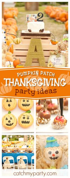 Don't miss this amazing Pumpkin patch Thanks giving party! The pumpkin macarons are gorgeous!! See more party ideas and share yours at CatchMyParty.com #pumpkin #fallparty