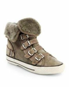 Coziness! Ash shearling-trimmed sneakers from Saks.