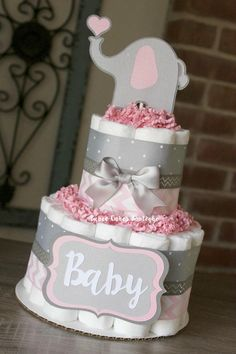 2 Tier Pink and Gray Elephant Diaper Cake Pink Grey