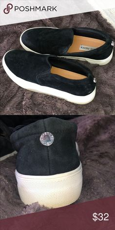 d47e2d802d8c46 Steve Madden Slip Ons (Worn once!) Black suede slip on steve madden shoes