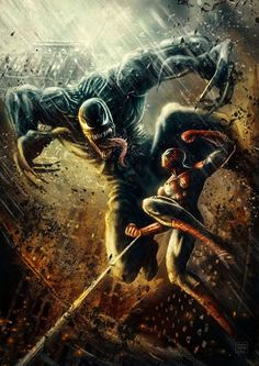 """ Venom vs Spiderman Fan art by Patricio Clarey Marvel Comics, Heros Comics, Comics Anime, Marvel Venom, Marvel Vs, Fun Comics, Marvel Heroes, Venom Spiderman, Cosmic Comics"