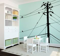 Wall Decal Custom Vinyl Art Stickers - Power lines and Birds on Etsy, £55.21