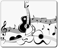 """Music Notes And Guitar Customizable Gaming Mouse Pad 240x200x3mm(9.45""""x7.87""""x0.12"""") by iCustom&Shop Mouse Pads http://www.amazon.com/dp/B017I4V3BA/ref=cm_sw_r_pi_dp_Ygfowb0S9N838"""
