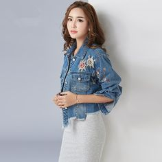>> Click to Buy << New Woman Jacket Floral Embroidery Tassel turn down collar vintage jeans jacket casaco feminino blue denim jacket #Affiliate