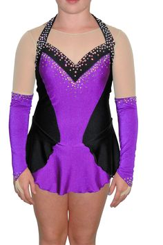 http://sk8gr8designs.com Purple and Black Jazzy figure skating dress by Sk8 Gr8 Designs.