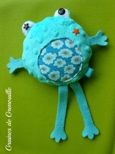 Ancien modèle Doudou grenouille Turquoise