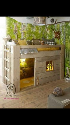 Cool wooden bed designs by Saartje Prum - house decorations- Coole Holzbett-Designs von Saartje Prum – Haus Dekorationen Would you like to give the interior of your children& room a much needed upgrade? The bed - Fort Bed, Bed Tent, Kid Beds, Cool Boy Beds, Kids Beds For Boys, Kids Beds Diy, Toddler Boy Beds, Boys Bunk Bed Room Ideas, Room For Two Kids