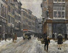 https://flic.kr/p/CjNrMD | Paul Fischer - A Winter's Day | Paul Fischer (1860 - 1934) was a Danish painter. [Sotheby's, London - Oil on panel, 20 x 25.5 cm]