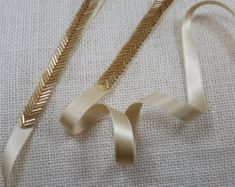 ~ Living a Beautiful Life ~ Gold bugle beads are used to create a delicate chevron style trim. The gold color is striking and will set off your dress to perfection!Bridal Belt Skinny Gold Belt Thin Gold Bridal Sash Gold - Life with AlydaBridal Drees Tambour Embroidery, Couture Embroidery, Embroidery Fashion, Ribbon Embroidery, Embroidery Stitches, Embroidery Patterns, Tambour Beading, Embroidery Dress, Bridesmaid Belt