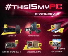 It's time to show your PC to the world! Join the giveaway and win awesome prizes including graphics cards, SSDs, APUs, keyboards, cases, gaming monitors and more!