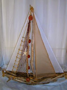 "Primitive Sailboat Drift Wood /& Burlap Distressed Baby Boy Wedding Beach New 8/"""