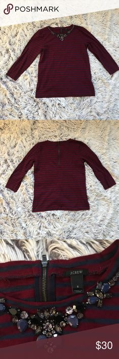 J. Crew Red and Navy Striped Long Sleeve Top J. Crew Red and Navy Striped Long Sleeve Bejeweled Top, excellent condition, size Small. Bundle and save! J. Crew Tops Tees - Long Sleeve