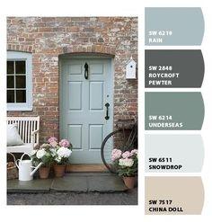67 Ideas Blue Front Door Colors Sherwin Williams Chips For 2019 Exterior Door Colors, Front Door Paint Colors, Painted Front Doors, Paint Colours, Cottage Style Front Doors, House Front Door, Best Front Doors, Green Front Doors, Brown Brick Houses