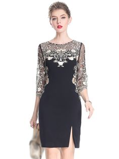 Party embroidery O-neck sleeve slit, bodycon dress - Bodycon Dresses Elegant Dresses, Cute Dresses, Beautiful Dresses, Casual Dresses, Short Dresses, Dresses With Sleeves, Dress Sleeves, Bodycon Dress Parties, Party Dress