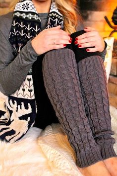 Quilted Knit Leg Warmers and black and white print scarf
