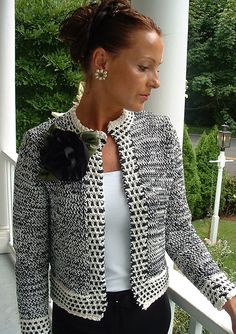 Christinas Jacket pattern by Marcia Cleary - Chanel Cardigan - Ideas of Chanel Cardigan - skeins of two colorways required Crochet Coat, Crochet Jacket, Crochet Cardigan, Knit Jacket, Crochet Clothes, Cardigan Pattern, Jacket Pattern, Jumpsuit Pattern, Chanel Style Jacket