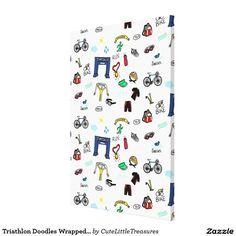 Triathlon Doodles Wrapped Canvas Canvas Print