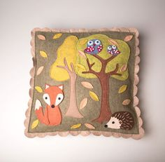 Try sewing a woodland cushion cover Cushions To Make, Pin Cushions, Sewing Crafts, Sewing Projects, Craft Projects, Woodland Creatures, Woodland Animals, Wool Applique, Embroidery Applique