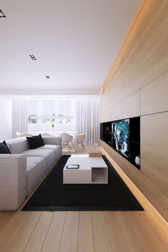 indirekte-beleuchtung-led-wohnzimmer-modern-weisse-moebel-holz, Gestaltungsideen