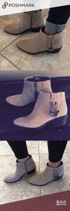 """Taupe Suede Tassel Detail Ankle Boots Worn once, perfect condition. Western inspired, genuine suede ankle bootie with side zipper and beaded tassel detail. Heel height 2"""". Shaft height 4"""". Perfection with cuffed skinnies or a dress and the perfect neutral taupe boot for every season! 🌞❄️⭐️☁️ White Mountain Shoes Ankle Boots & Booties"""