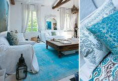 Beautiful blue and white Moroccan-style home decor