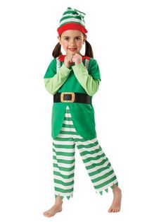 Child Christmas Elf Fancy Dress Costume Santa's Helper Xmas Kids Boys ...
