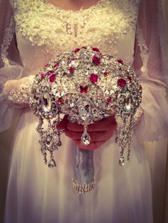 Brooch Bouquet.Deposit on The Great Gatsby SANGRIA SILVER Diamond Jeweled Crystal Bling Brooch Bouquet. Broach Bouquet with dangling jewelry